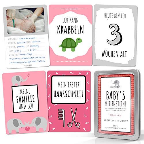 nunubri® Box Meilensteinkarten Baby Mädchen - 41 Motive - mit Fotofläche für Babyfotos - Baby Meilenstein Karten für Mädchen in hochwertiger Geschenkbox - Geschenk zur Geburt Mädchen