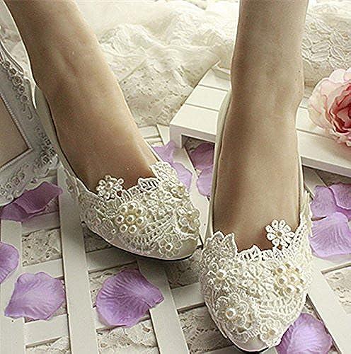 JINGXINSTORE Dentelle blanche tache pectorale chaussures de mariage mariage mariée Pearl High Heels basse  les derniers modèles