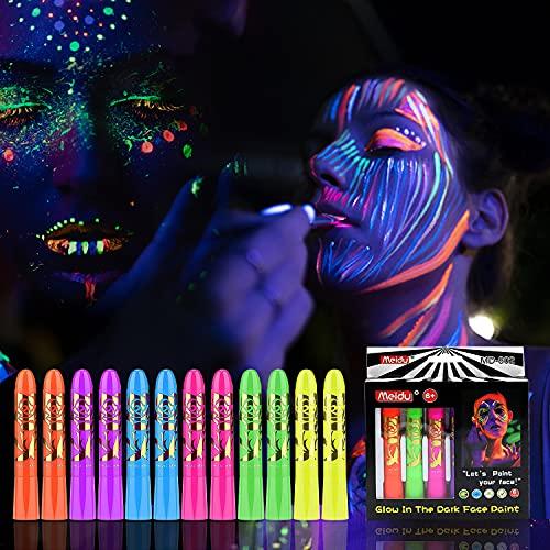 Face Body Paint Kit,12Pcs Body Neon Fluorescent Painting 6 Colors Glow...