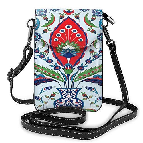 Vrouwen Small Cell Phone Purse Crossbody, Floral Nature Art Motieven From Istanbul Abstract Plant In A vaas
