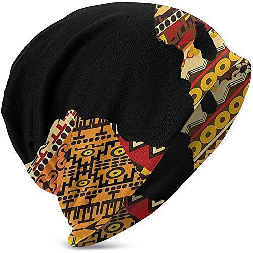 GodYo Afrikaans abstract kunst-Afrikaanse kaart op etnische Slouchy Stulpe-Schaal-Gebreide muts Kap-winter-warme ski-hoed hysteresen-zwart