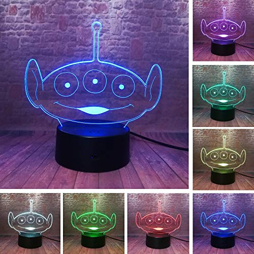 3D Lamp Planet Alien Led Night Light,Bedroom Optical Illusion Lamp 7 Colors Dimmable USB Powered Touch Control with Remote for Boys Girls Kids Gifts