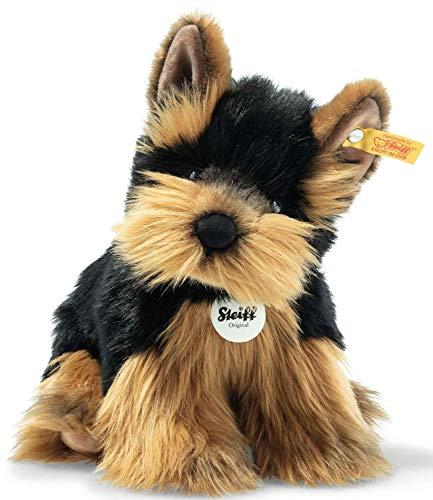 """Steiff 76923 Original Plüschtier Hund Herkules Yorkshire Terrier, Kuscheltier ca. 24 cm, Markenplüsch Knopf im Ohr"""", Schmusefreund für Babys von Geburt an, braun, schwarz"""