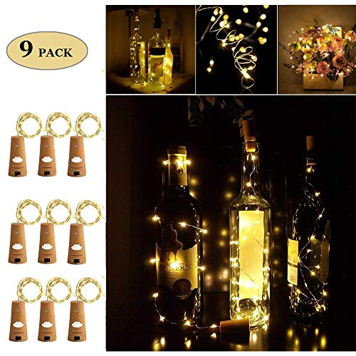Sonnis 9 PCS Bouteille Guirlande,Bouchon lumineux pour bouteille,DIY Decorative Lighting with Battery Powered, 6.6FT 20 LED Silver String Lights for Party, Decor,Christmas(Blanche chaude)