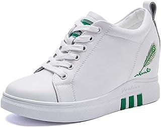 [GUREITOJP] インヒールスニーカー レディース レザー レースアップ 厚底シューズ 6CM ヒールアップ カジュアルシューズ 滑り止め 防水 シークレットシューズ 日常着用 スポーツ靴 トラベル おしゃれ クッション性 黒 白