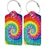 Rainbow Luggage Tag Suitcase Labels Tie Dye ID Tags Card, Leather Baggage Bag Label with Stainless Steel Loop, Full Back Privacy Cover for Men Women Travel, Set of 2