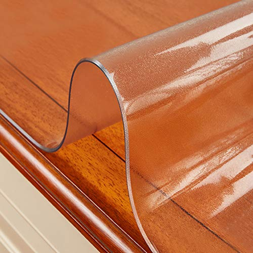 KDDEON Nappe Transparente Rectangulaire en Verre Souple en PVC,Protection de Table de 1.5mm,Nappe Étanche/Anti-Huile,pour Tables Basses,Bureau,Tapis de Sol Antidérapants (55x90cm/22x35in)