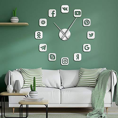 Social Media Symbolen DIY Giant Wandklok Horloge Office College Dorm Decor 3D Frameless Pictogrammen Muur Tijd Klok Geschenken voor Tieners
