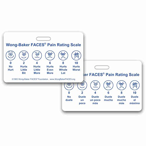 Wong-Baker Faces® Pain Rating Scale Horizontal w/Spanish on Back Badge ID Card Pocket Reference Guide (1 Card) (Wong Baker Faces Pain Rating Scale Spanish)