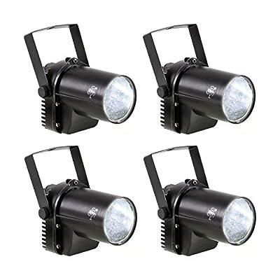 4 Pack White LED Beam Pinspot Light DJ Mirror Ball Lighting For KTV Bar Club Party Disco