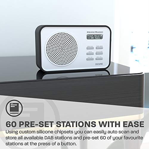 AZATOM Desire DAB+ DAB & FM Digital Radio - Dual Alarms - Clock - Portable - AUX - Headphone - Rechargeable battery 18hrs playtime & 60 Presets (Blue)