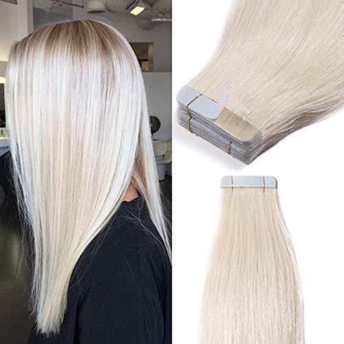 TESS Tape Extensions Echthaar Klebeband günstig Haarverlängerung 14 Inch 20pcs Glatt Remy Tape in Haar Extensions Platinblond (#70 35cm-50g)