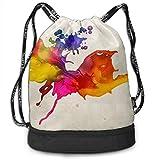OKIJH Mochila Mochila de Ocio Mochila con cordón Mochila Multifuncional Bolsa de Gimnasio Gymsack Drawstring Bag Sackpack Color Spray Paint Sport Cinch Pack Simple Bundle Pocke Backpack For Men Women