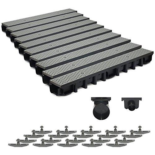 10m Entwässerungsrinne für modulares System A15 98mm, komplett Stegrost Kunststoff, Grau Decor