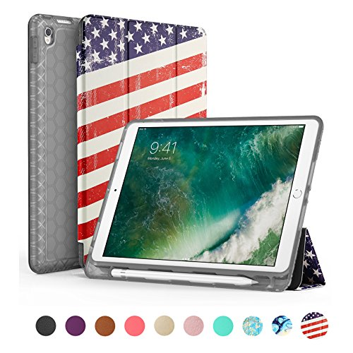 SWEES Kompatibel mit iPad Air (3. Generation) 10,5 Zoll 2019 / iPad Pro 10,5 2017 Hülle, Slim Full Body Protective Smart Cover Leder Hülle Stoßfest mit Stand Eingebautem Stifthalter (US-Flagge)
