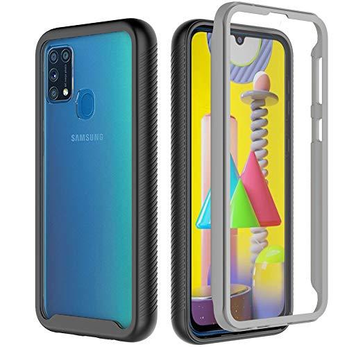 Samsung Galaxy M31 Hülle, Samsung M31 Hülle, Transparent Hülle 360 Grad R&umschutz-Schale mit Eingebautem Bildschirmschutz Robust Schutzhülle Handyhülle Kompatibel mit Samsung Galaxy M31 Schwarz