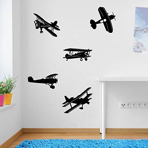 Avión Avión Avión Set decoraciones de pared pegatinas de ventana decoración de la pared pegatinas de pared Wall Art adhesivos de pared pegatinas de pared de vinilo Adhesivos Mural Decoración DIY Deco removibles etiquetas de la pared pegatinas de colores, vinilo, 01 - Black, Large Set