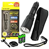 Nitecore SRT7GT 1000 Lumens CREE LED Built in Red, Green, Blue, UV Lights, Variable Brightness Flashlight/searchlight with 2 X EdisonBright CR123A Batteries