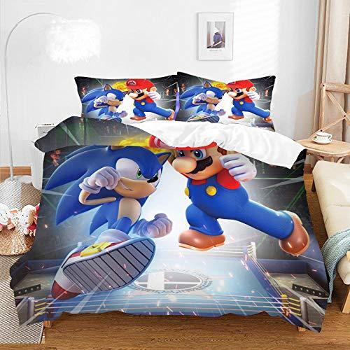 Juego de ropa de cama con patrón 3D, impresión digital de dibujos animados, juego de funda nórdica de anime, funda de almohada, decoración de dormitorio para adultos y niños-B-004_230*220cm(3pcs)