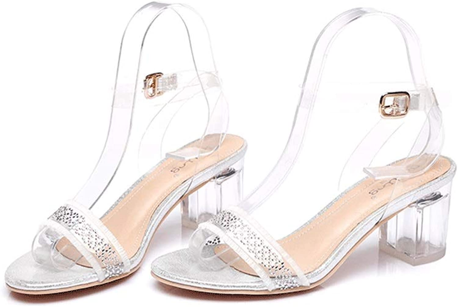 Summer New Women's Sandals with Crystal and Fashion Transparent High-Heeled Rhinestones with Women's shoes Stylish and Comfortable
