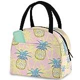 Bolsa de almuerzo reutilizable con diseño de piñas de palmeras, con bolsillo frontal con cierre de cremallera, aislante, para hombre y mujer, para trabajo, picnic, viajes, playa, pesca