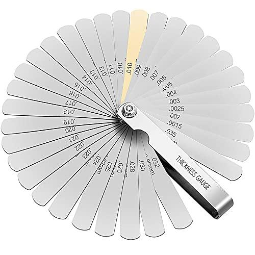 【CRSHIP】ステンレス シックネス ゲージ 隙間ゲージ 32枚組 厚さ 薄さ測定 (0.0015〜0.035, 32枚)