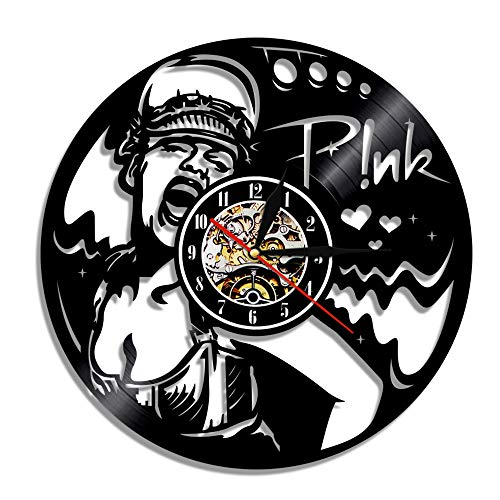 YUN Clock Pink P!nk Wanduhr aus Vinyl Schallplattenuhr Design-Uhr Wand-Deko Vintage Familien Zimmer Dekoration Durchmesser 30 cm