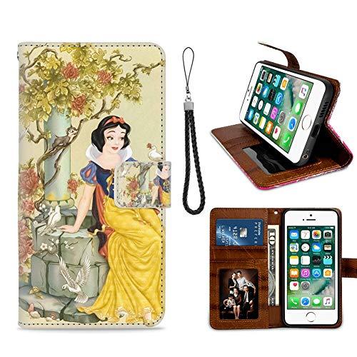 DISNEY COLLECTION Funda tipo cartera para iPhone 7/8 Plus, diseño de patrón de Blancanieves, titular de tarjeta de crédito, cierre magnético, función de soporte, buena apariencia