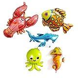 Globos grandes bajo el mar de animales de 96,5 cm de dibujos animados de caballo de mar, globo de pulpo, globo de tiburón, globos de peces tropicales para decoración de fiestas de cumpleaños de...