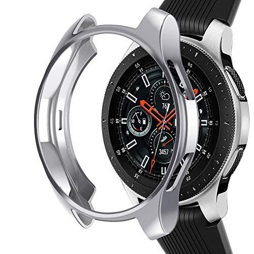 Kmasic Kompatible Samsung Galaxy Watch 46mm Schutzhülle, Soft TPU Slim Plattierte Abdeckung Rundum Schützend Bumper Shell Stoßfest Schutzfolie Für Galaxy Watch 46mm, Silber