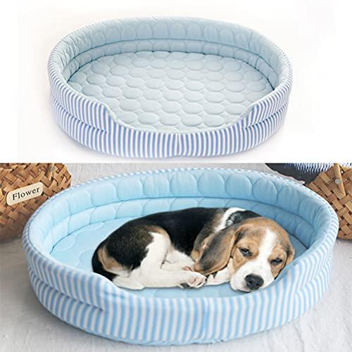 1 alfombrilla de refrigeración para perro, de seda de hielo, cama de verano, lavable, suave, para dormir, hielo, cama de refrigeración, ideal para perros pequeños, medianos y grandes y gatos