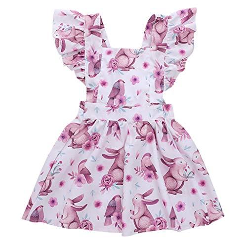 YUAN YUAN Kleide Mode Kinder Kleinkind scherzt Baby-Mädchen-Karikatur-Kaninchen-beiläufige Prinzessin Dress