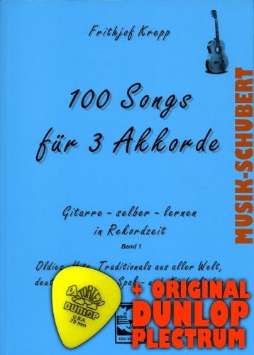 Frithjof Krepp zakboek - 2008) (Noten/Sheetmusic) van Frithjof Krepp voor 3 akkoorden band 1 incl. plectrum - Oles, Hits, traditioneel uit de hele wereld, Duitse volks-, plezier- en kinderliedjes voor absolute beginners op de gitaar (notitieboek)