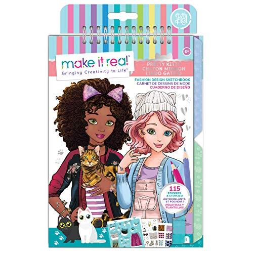 Make It Real - Moda Diseño Sketchbook: Gatito Bonito. Gato Inspirado diseño de Moda Libro para Colorear para Chicas. Incluye Cuaderno de bocetos, Plantillas, Pegatinas y Guía de diseño de Moda
