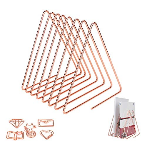 Triangle en métal fichier Holder Achort 7 Fente Journal Porte-Revue Document File Support Journal Magazine Rack Support de Stockage de Livre de Triangle en Métal pour la Maison ou au Bureau Rose Gold