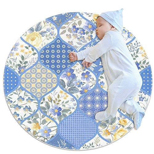 LKJDF Estera de juego, alfombra de gatear alfombra con aire acondicionado, dormitorio infantil para niños, flores de arte B3