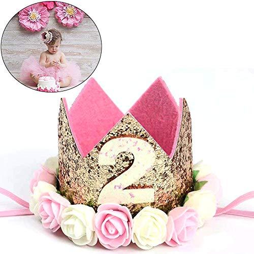 Xinlie Estilo Princesa bebé Flor Corona Diadema cumpleaños Accesorios para el Cabello Niñas Diadema de Corona Diadema Corona para Cabritos Cumpleaños Headwear Decoración de Fiesta de Cumpleaños (B)