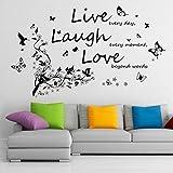 Removibile, in Vinile Adesivo Murale Adesivo - Dancing Farfalle e Albero Ramo + Vivid Live Laugh Love