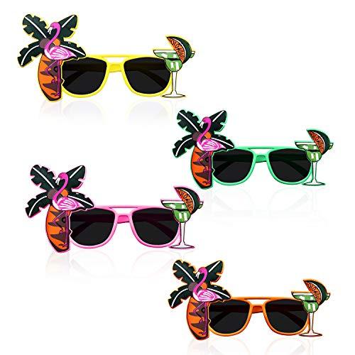Party Sonnenbrille (4 Stk) - Hawaii Sonnenbrillen Tropical Party Brille fur Herren, Damen - Lustiges Party Zubehor - Palme, Flamingo, Cocktail Beach Partybrille - Grun, Gelb, Apfelsine, Pink