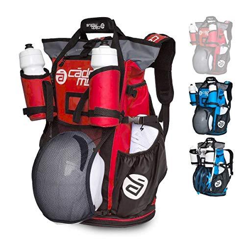 CADOMOTUS Versatile Vielseitige Sportrucksack mit Dry Bag - Wasserdichter Rucksack für Sport 40+15L - Fahrrad Rucksack - Triathlon Sporttasche - MTB Rucksack - Rot