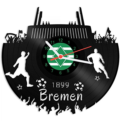 GRAVURZEILE Schallplattenuhr Bremen - 100prozent Vereinsliebe - Upcycling Design Wanduhr aus Vinyl Made in Germany