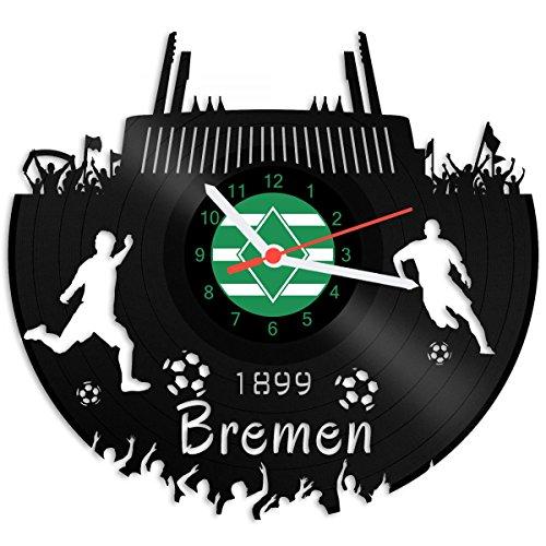 GRAVURZEILE Schallplattenuhr Bremen - 100% Vereinsliebe - Upcycling Design Wanduhr aus Vinyl Made in Germany