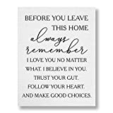 before you leave this home, always remember Grey Typographic Wall Art | 11x14 UNFRAMED Black and Grey Love Quote Print | Wood Look, Modern, Minimal Farmhouse Home Decor