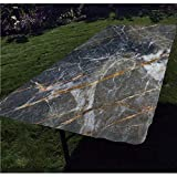 Marble Polyester Fitted Tablecloth,Abstract Medieval Style Architecture Ceramic Textured Artsy Facet Design Decorative Rectangular Elastic Edge Fitted Table Cover,Fits Rectangular Tables 72x32