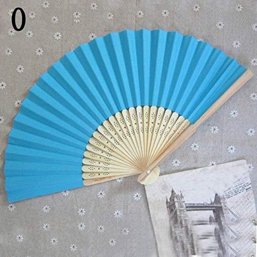 Opvouwbare ventilator,klassieke papieren waaier voor verjaardagsfeestje bruiloft gunsten klassieke Soild kleur blauw