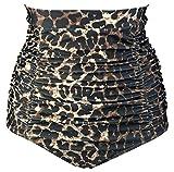 COCOSHIP Brown Beige & Black Leopard Women's Retro Solids High Waisted Bikini Bottom Ruched Swim Short Tankinis XXXXL
