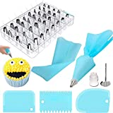 32 Pcs Piping Bag and Nozzles Sets, Cake Decorating Supplies with Cake Pastry Bags Cake Scrappers Piping Bags and Piping Flower for DIY Cake Decoration