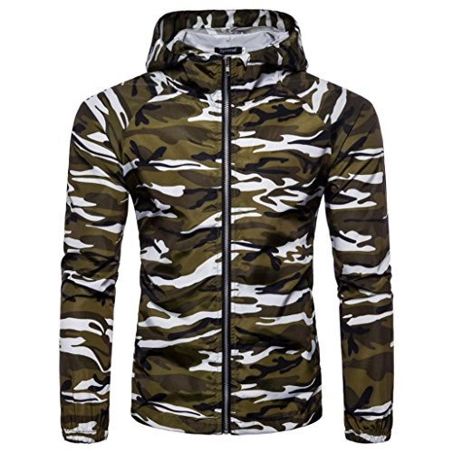 Mannen Shirts Daoroka Mannen Jongen Camouflage Casual Suntan Hoodie Lange Mouw Rits Blouse Slim Fit Mode Tops Comfort T Shirt XXL Kleur: wit