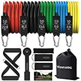 RENRANRING Resistance Bands Set,Exercise Bands with Stackable Workout Bands, Door Anchor Attachment, Handles, Legs Ankle Straps, Carry Bag, Gym Equipment for Home (Set of 13) (Black)