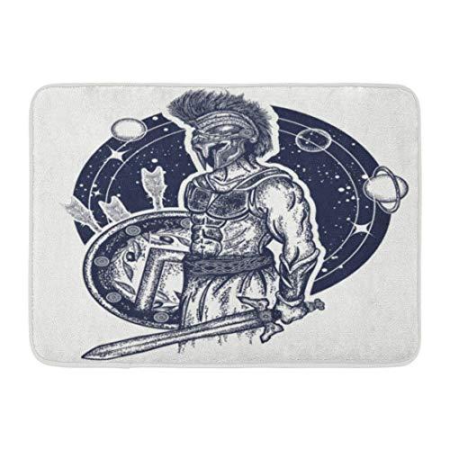 Fußmatten Bad Teppiche Outdoor / Indoor Türmatte Gladiator Spartanischer Krieger mit Schwert und Schild Tattoo Symbol der Tapferkeit Force Army Hero Legionär Badezimmer Dekor Teppich Badematte